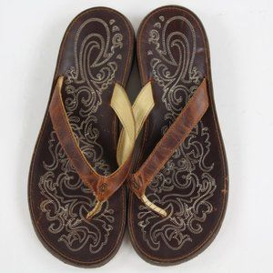 Olukai Paniolo Flip Flop Brown Leather Thong Sanda